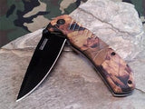 Tac Force Folding Pocket Knife Black Blade Brown Camo - TF764CA