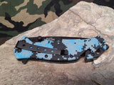 Master Folding Spring Assisted Rescue Knife Blue Camo A001DB