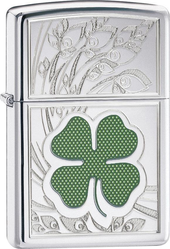Zippo Lighter Clover High Polish Chrome Windproof USA New