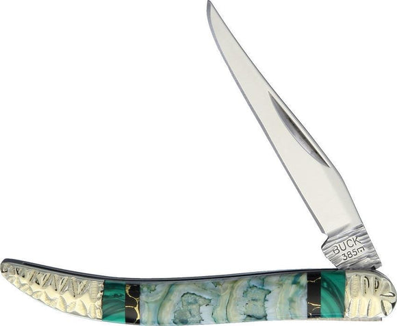 Yellowhorse Custom Buck Toothpick Green Mammoth 420J2 Folding Pocket Knife