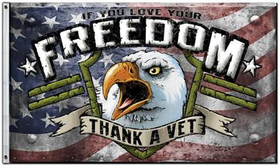 Thank A Vet Flag w/ Eagle 3' x 5' Veteran USA Pride Freedom America NRA 2a 38078