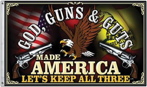 God Guns & Guts Made America Flag 3' x 5' United States USA Freedom NRA 2a - 36680