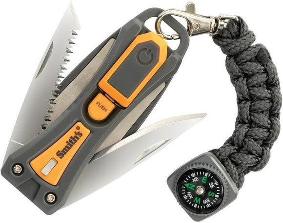 Smith's Sharpeners Survival Tool Sharpener Compass Folding Knife & Saw