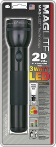 "MagLite 10"" 2D Cell Battery Black Aluminum Body Hang Packed LED Flashlight"