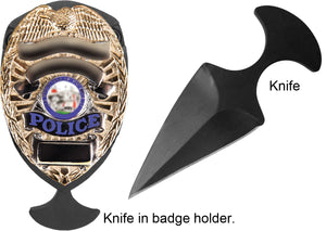 5.11 Tactical Shield Badge Holder One Piece Stainless Black Push Dagger Blade Knife