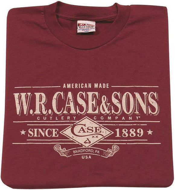 W. R. Case Cutlery & Sons Hand Crafted Knives Graphic Small Maroon T-Shirt
