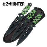 "Z Hunter Zombie Triple Knife 3 PC Throwing Set 7.5"" Green & Black - 0753"