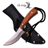 "Elk Ridge Fixed Knife 7.6"" Maple Burl Wood Recurve Edge Stainless Hunter - 547BW"