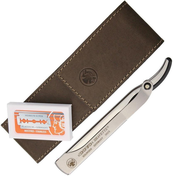 Dovo Shavette Barber Straight Shaving Razor w/ Brown Leather Case