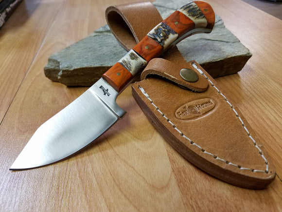 Fox N Hound Hunter Fixed Blade Knife W/ Leather Sheath - 624
