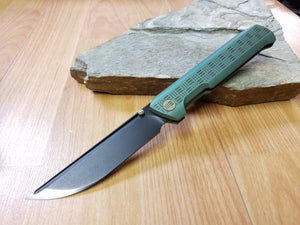 WE KNIFE Co Straight Up Green Handle Folding Knife