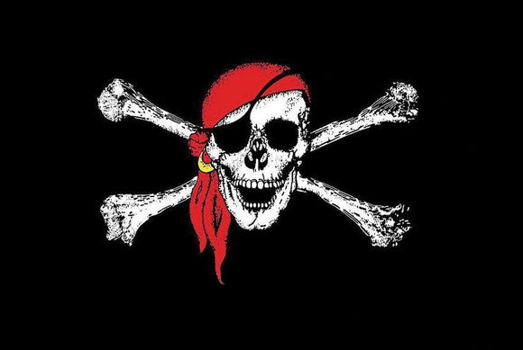 Jolly Roger Pirate Skull & Cross Bones 3 x 5 Flag Red Scarf Black Flag