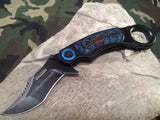 Tac Force Folding Tactical Knife Spring Assisted Karambit Blue Scorpion - 744BL