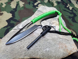"Survivor Fixed Blade Knife 8"" Overall Full Tang Black Grn + Fire Starter - 767gn"