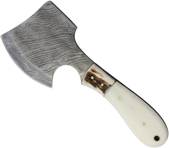 Marbles Knives Damascus Steel Ax Blade White Bone Handle Hatchet