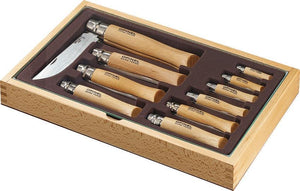 Opinel 10 Piece Folding Knife Assortment Beech Wood Carbon + Display Tray