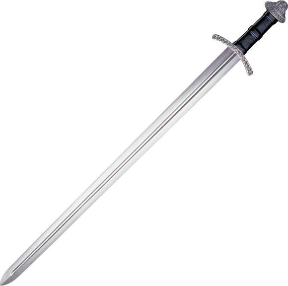 Cold Steel Fixed Sharpen Blade w/ Fuller Black Leather Handle Viking Sword
