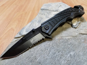"Mtech 8"" Spring Assisted Aluminum Anodized Black Folding Knife - A955BK"