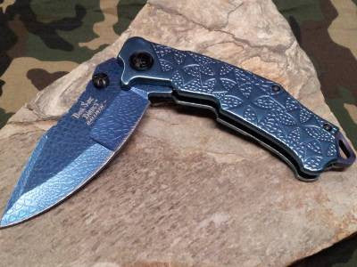 Dark Side Folding Pocket Blue Fantasy Knife  Maltese Cross - A031BL
