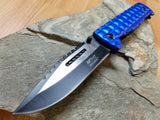 "MTech 9"" Folding Spring Assisted Blue Tactical Pocket Knife with Glass Break - a906bl"