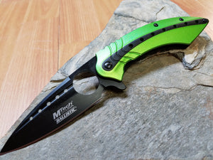 Mtech A/O Green and Black Tactical Folding Knife with Finger Hole - A901GN