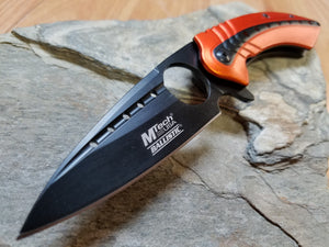Mtech spring assisted Orange and Black Tactical Knife with Finger Hole - a901or
