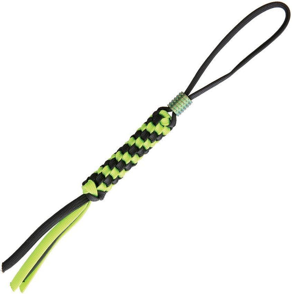WE KNIFE Co Black & Green Paracord Knife Lanyard w/ Anodized Titanium Bead