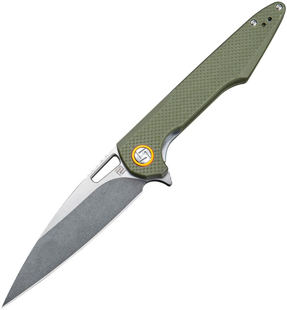 Artisan Archaeo Linerlock Green G10 Folding D2 Tool Steel Pocket Knife 1821PGNF