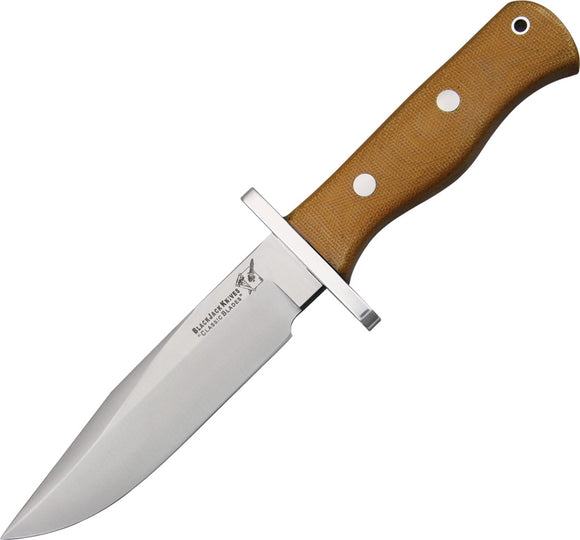 Blackjack Halo Attack - Model 13 Natural A-2 Tool Steel Fixed Blade Knife 13NMBP