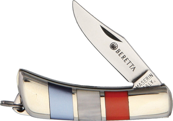 Beretta Mignon Red White & Blue Mother of Pearl Stainless Folding Knife 707US