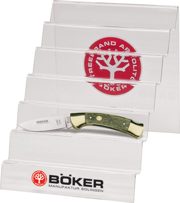 Boker Logo Clear Acrylic Plastic Holds 6 Knives Countertop Display Stand 099949