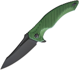 Brous Blades T4 Linerlock Aluminum Green Handle Black Folding Blade Knife 228