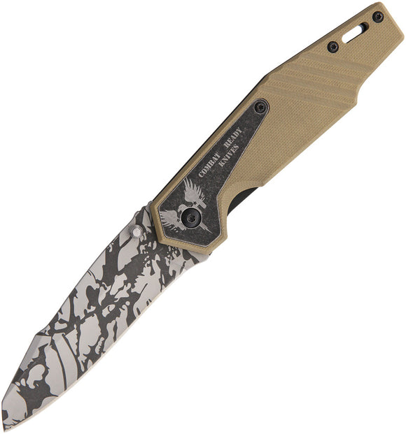 Combat Ready Linerlock A/O Tan G10 Folding Gray Camo Stainless Pocket Knife 335