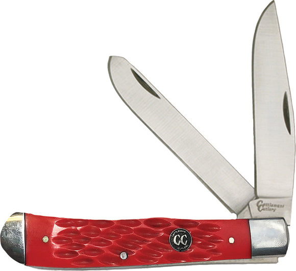 Cattleman's Cutlery Signature Trapper Red Folding 3Cr13 Pocket Knife 0002JRD
