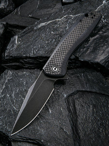 Civivi Baklash Black G10/Carbon Fiber Folding 9Cr18MoV Steel Pocket Knife 801I