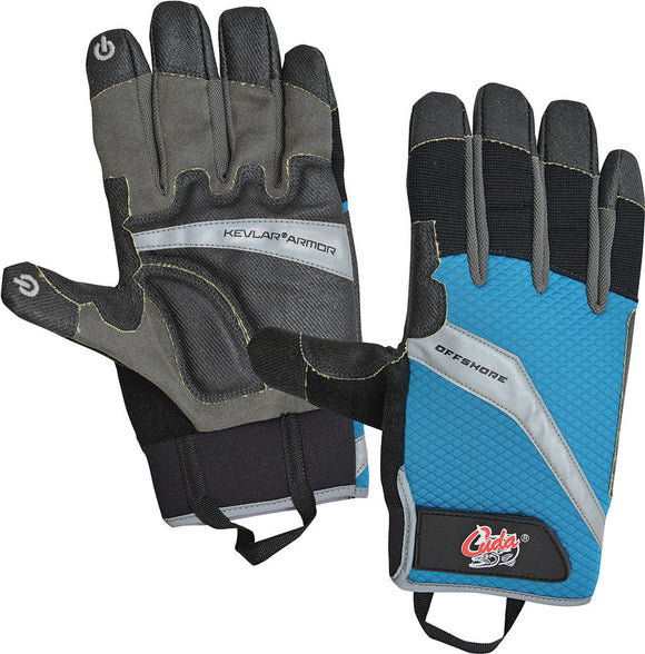 Camillus Cuda Fishing Brand Blue & Black Large Men's Offshore Gloves 18214