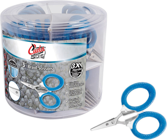Camillus Cuda Fishing 50pc Counter Display Bucket of Blue Braid Scissors 230190