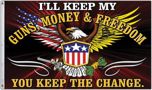 I'll Keep My Guns Money & Freedom Flag 3' x 5' USA Eagle NRA US 2a Rights - 36681