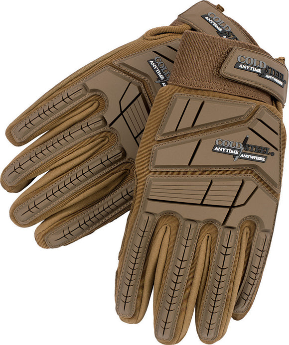 Cold Steel Tan Medium Goatskin Leather Cut Protection Men's Tactical Gloves GL21