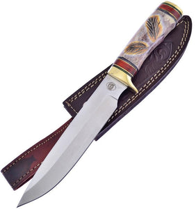 Frost Red Plains Chief Bowie Chipaway Bone Handle Stainless Fixed Knife