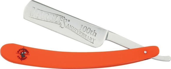 Marbles 100th Anniversary Orange Handle & Stainless Folding Blade Razor