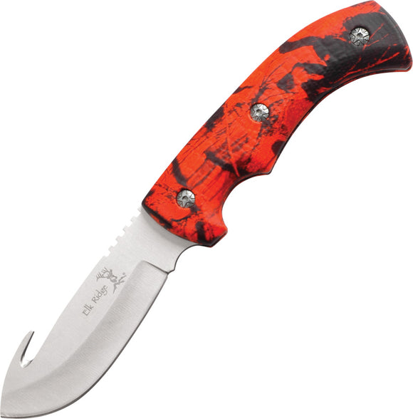 Elk Ridge Red Camo Gut Hook Hunter Fixed Blade Hunting Knife Skinning 274RC