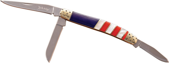 Elk Ridge Small Stockman Red White Blue Acrylic Folding 3Cr13 Pocket Knife 953AF