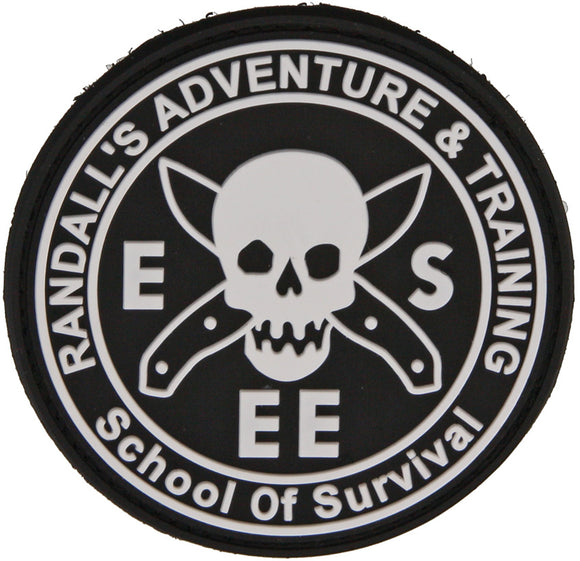 ESEE Knives Randall's Adventure & Training Black White Rubber Rat Patch RATPATCH