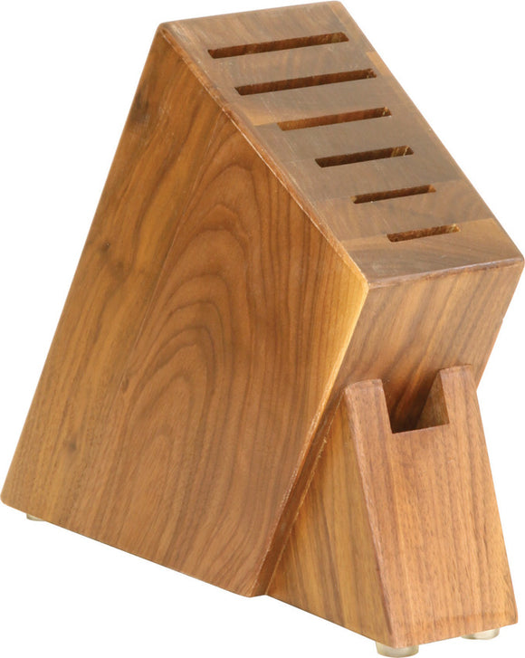 Ferrum Walnut Wood Slim 7 Knife Slot Kitchen Block USA Made FE0700
