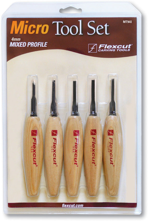 Flexcut Mixed Profile Micro Tool Wood Detailing Carving Set XMT940
