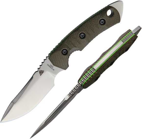 Fobos Knives OD Green Tier 1 Mini Green Liner Fixed Blade Knife 014