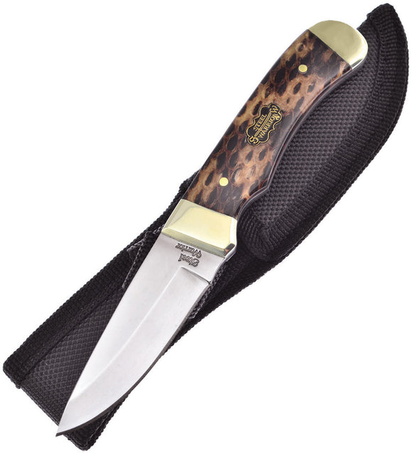Frost Cutlery Fixed Blade Cobra Skin Knife w/ Gold Bolsters & Sheath 101CSS