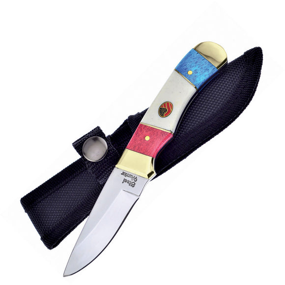 Frost Cutlery USA Red White & Blue Bone Fixed Blade Knife w/ Sheath 101RWB