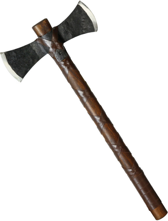 Factory X Brown Wood/Cord Wrapped Handle Black Carbon Steel Tomahawk Axe 310P